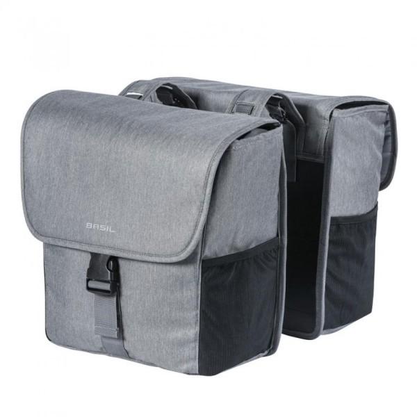 Doppelpacktasche Basil Go Double grey melee m. Reflexstreifen 32 L.