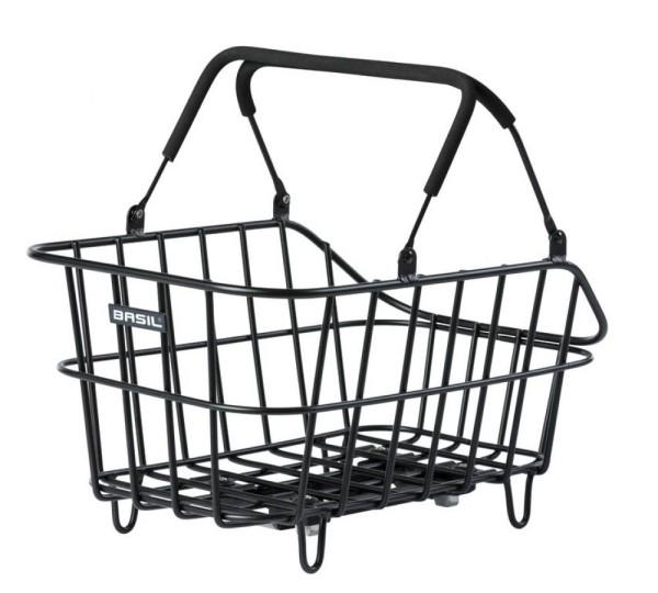 Hinterradkorb Basil Cento Mik Alu 45x33x21 cm, matt schwarz, weitmaschig