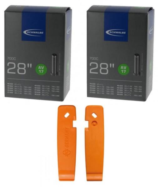 Schwalbe Schlauch AV17 (28/47-622/635) 28 Zoll  SKS Reifenheber-Set orange 1 Set=3 Reifenheber