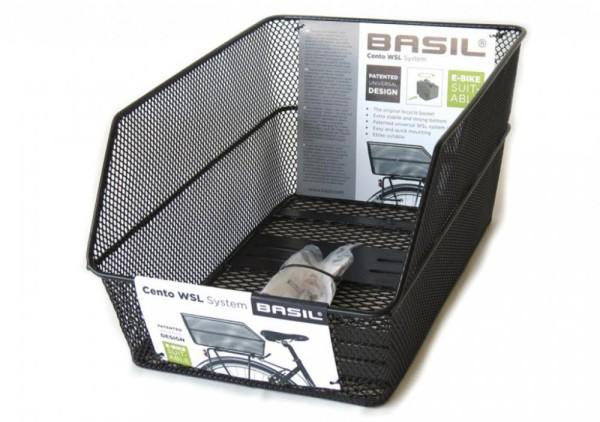 Hinterradkorb Basil Cento WSL 39x24x21cm, schwarz, engmaschig