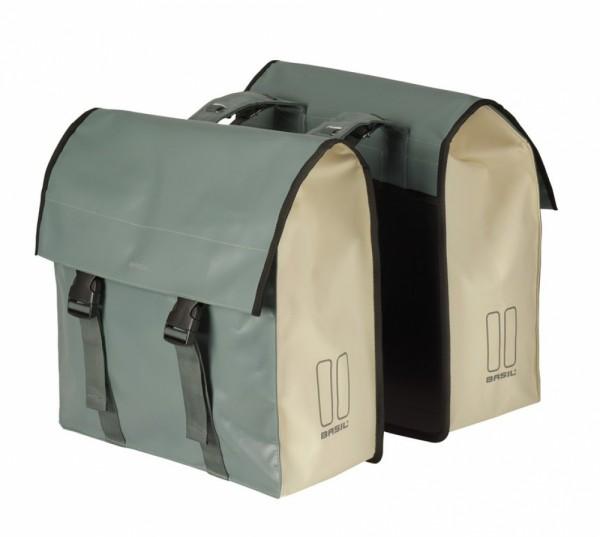 Doppeltasche Basil Urban Load DB wasserdicht grün/beige 48-53 Ltr