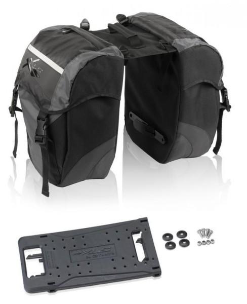 XLC Doppelpacktasche carry more sz/anthrazit für XLC Systemgepäckträger