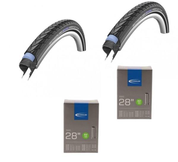 2 x Schwalbe Drahtreifen MARATHON PLUS 28x1.75 47-622 Reflex E-50 2x Schlauch AV17 28/47-622/635 28 Zoll